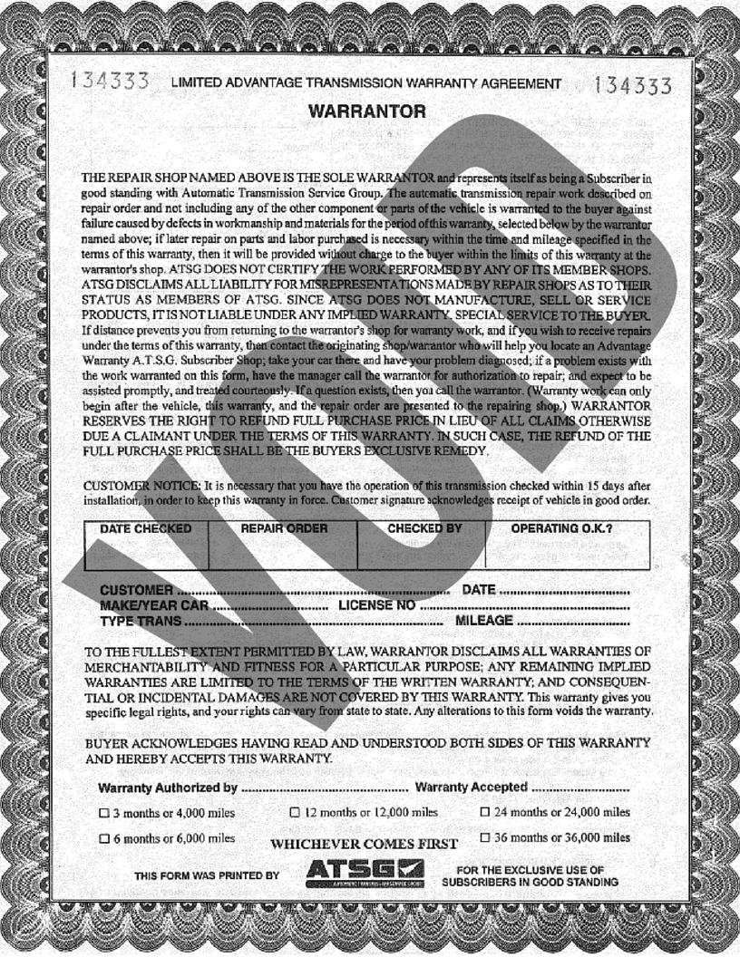 ATSG Advantage Warranty Sample Form